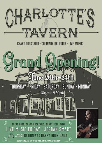 Grand Opening Flyer with June 20th - 24th information on live music